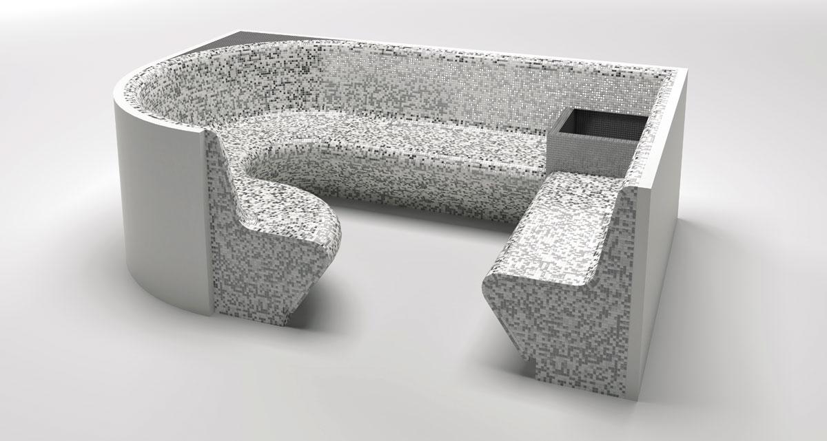 Panca per bagno turco - La Veneta Forme